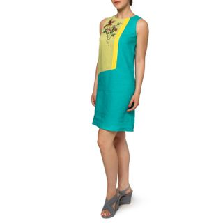"Dress women ""Wilsonia"" green with silk embroidery"