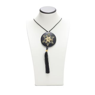"""Pendant """"Flower"""" black with gold embroidery"""