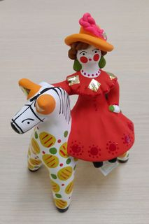 Dymkovo clay toy, the Lady on the horse