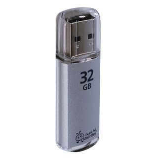 SMARTBUY / Flash Drive 32 GB, V-Cut, USB 2.0, Metal Case, Silver