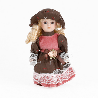 Porcelain doll Girl pink brown dress