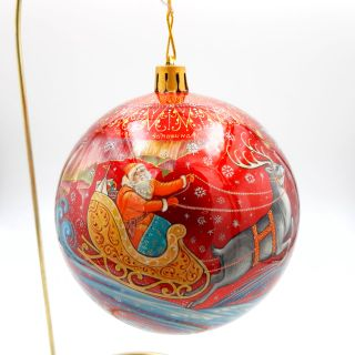 "Palekh / Christmas tree ball ""Santa Claus"" glass, master Chaparina"