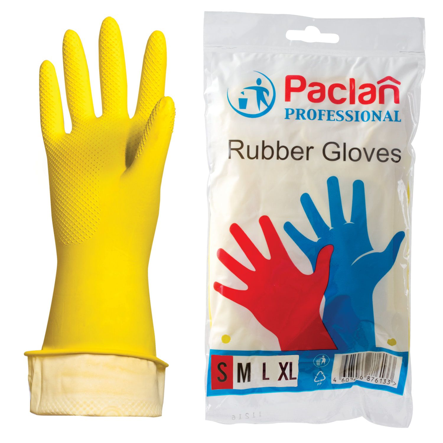 PACLAN / Professional latex household gloves with cotton spraying, size S (small), yellow