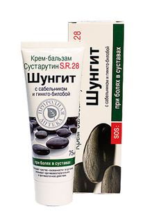 "Shungite body creams CREAM-BALM Sustarutin S.R.28, 75 ml. In the pharmaceutical category of skin creams/gels for body 6 SKU: ""Chondrocytic X. S. 28"", Shungit with bee venom FORTE, Shungite and comfrey FORTE, Sustarin S. R. 28, for the body Microemulsion S"