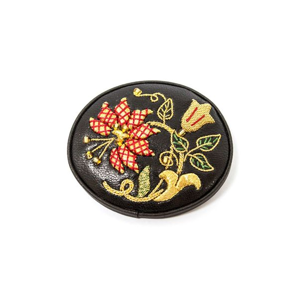 Brooch 'Colors' of black color with Golden embroidery