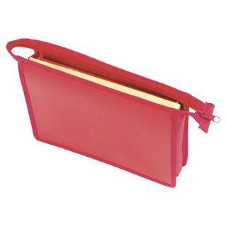 Folder for notebooks A5 PYTHAGORAS, plastic, zipper top, single tone, red