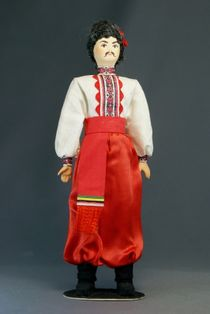 Doll gift porcelain. Poltava oblast. Kiev province. Men's Ukrainian costume of the late 19th - early 20th century
