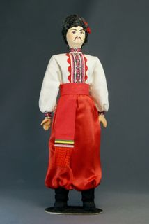 Doll gift porcelain. Poltava oblast. Kiev province. Men's Ukrainian costume of the late 19th - early 20th century
