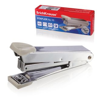 Stapler No. 10 ERICH KRAUSE, up to 15 sheets with staple remover, gray