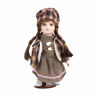 Porcelain doll Spring brown dress