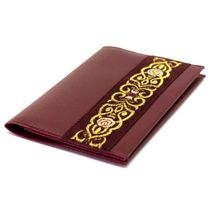 Passport cover 'Scent of spring' Burgundy with gold embroidery