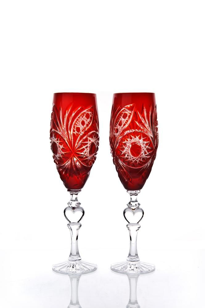 """Set of crystal glasses """"Confession"""" red 2 pieces"""