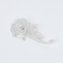 "Brooch ""rose"" silvering, Kazakovo Filigree"