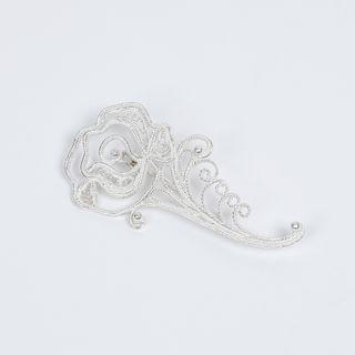 """Brooch """"rose"""" silvering, Kazakovo Filigree"""
