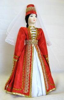 Doll gift porcelain. Kabardinsky wedding costume women. The beginning of the 19th century.