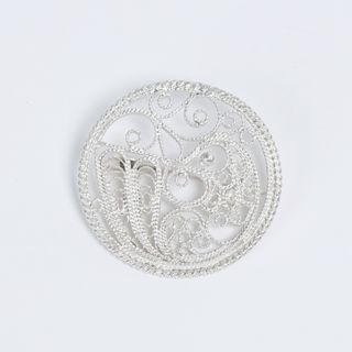 "Kazakov Filigree / Brooch ""Bird"" silvering"
