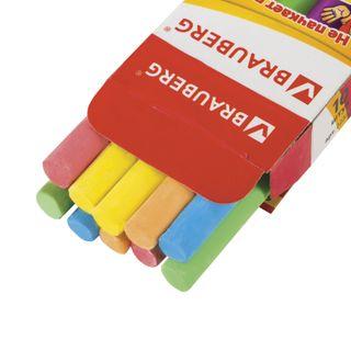 Chalk, colored BRAUBERG, anti-dust, set of 10 PCs, round