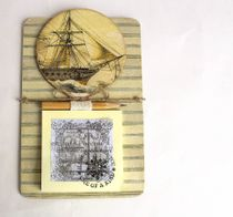 Handmade Men's Souvenir Magnet Sailboat with Writing Block