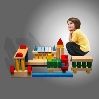 """DESIGNER OUTDOOR large""""Builder 2"""" color 64 parts (2 wooden box ) for children from 3 years"""