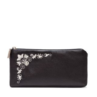 """Leather eyeglass case """"Shining"""" with silver embroidery"""