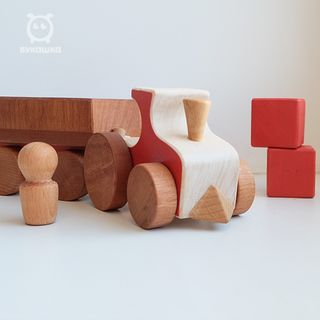 Train with a car - developing children's wooden toy handmade