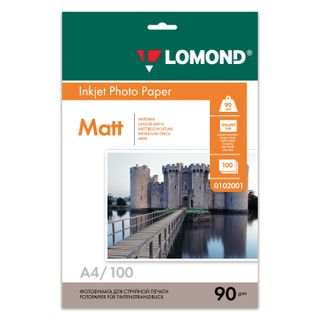 Photo paper for inkjet printers A4, 90 g/m2, 100 sheets, one-sided matte, LOMOND