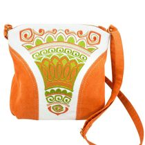 Linen bag 'Stone flower' is yellow with silk embroidery