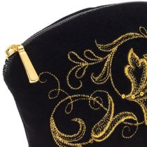 Velvet cosmetic bag 'Romance' in black with gold embroidery