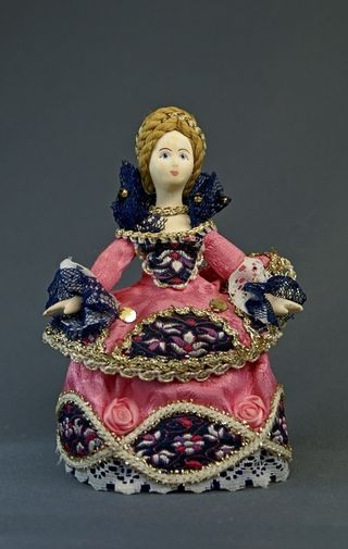 Doll gift porcelain. The maid of honor. Fantasy on the theme of European costume. 18th century
