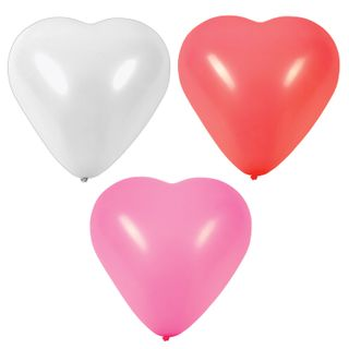 """GOLDEN TALE / Balloons in the shape of a heart 12 """"(25 cm), SET of 50 pieces, 3 colors, package"""