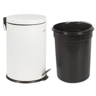 "LIMA / Waste bin (urn) with a pedal ""Classic"", 20 l, white, glossy, metal, with a removable inner bucket"