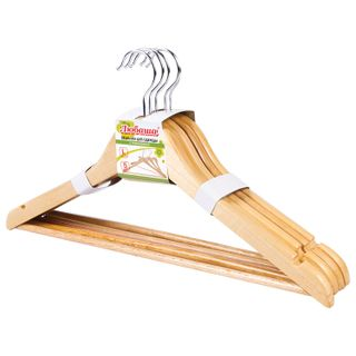 LYUBASHA / Economy coat hangers, size 48-50, SET of 5 pieces, wooden, crossbar, pine color