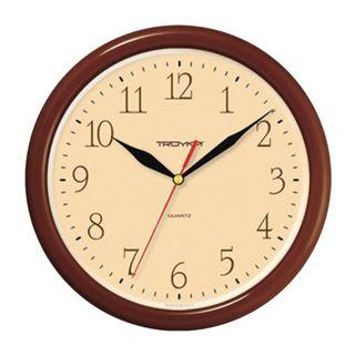 Wall clock TROYKA 21234287, circle, beige, brown frame, 24,5х24,5x3,1 cm