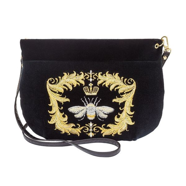Velvet bag Luxury black with gold embroidery