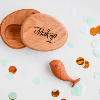 """Wooden rattle """"Tim Whale"""" in a gift box with engraving"""