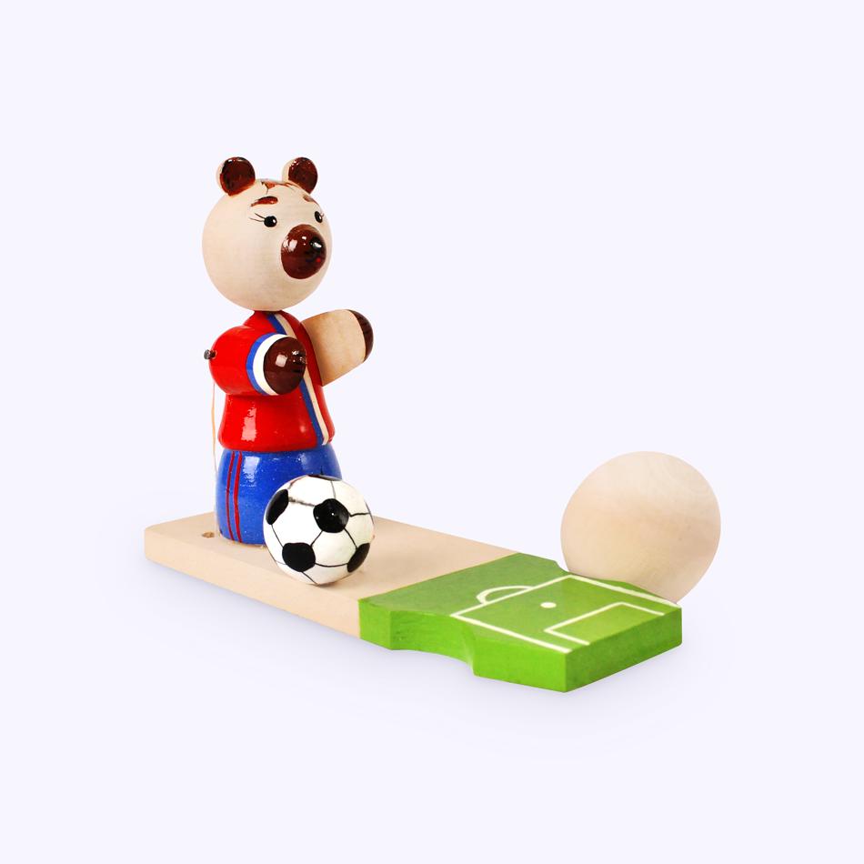 """Bogorodsk toy / Wooden souvenir """"Bear Boris with a ball"""""""