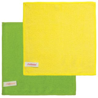 LYUBASHA / Universal napkins, ECONOMY, microfiber, 25x25 cm, green + yellow, SET of 2 pcs.