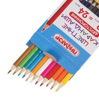 """Pencils bilateral PYTHAGORAS """"FUNNY SHARK"""", 12 pieces, 24 colors, sharpened, Euro slot"""