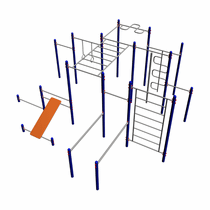 The sports complex MM-60 - three horizontal bars for pulling up at various heights, zigzag for pulling up, crossbar with rings, crossbar with rope, straight handle, vertical zigzag, ladder, straight push up bars, press board, push up bar