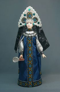 Doll gift porcelain. The Queen is the stepmother with a mirror. Fairy tale character.