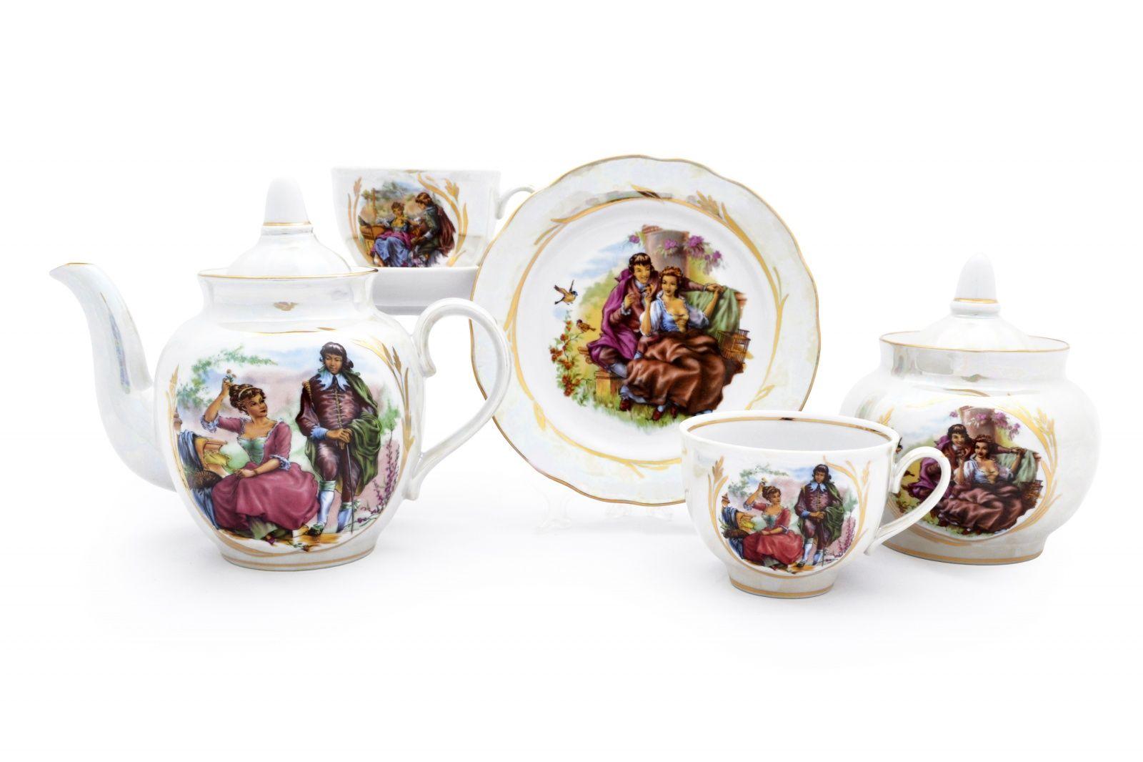 Dulevo porcelain / Tea set 20 pcs Garnet Mother of Pearl