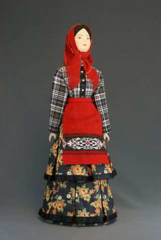 Doll gift porcelain. Traditional Chuvash girl's costume. Russia.
