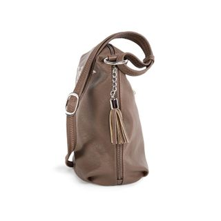 "Bag made of eco-leather ""Sonata"" brown with gold embroidery"