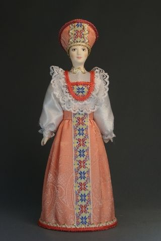Doll gift porcelain. Traditional girl suit (styling). Russia.