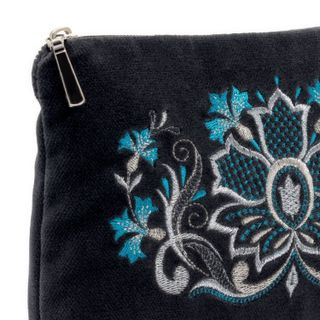 "Velvet cosmetic bag ""flavor of the cornflowers"" gray color with silver embroidery"