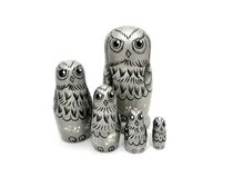 Owl - Russian doll booklet, 5 dolls - author's silver