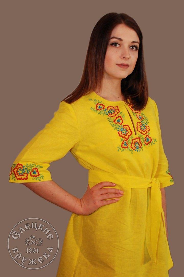 Yelets lace / Women's linen dress С11717
