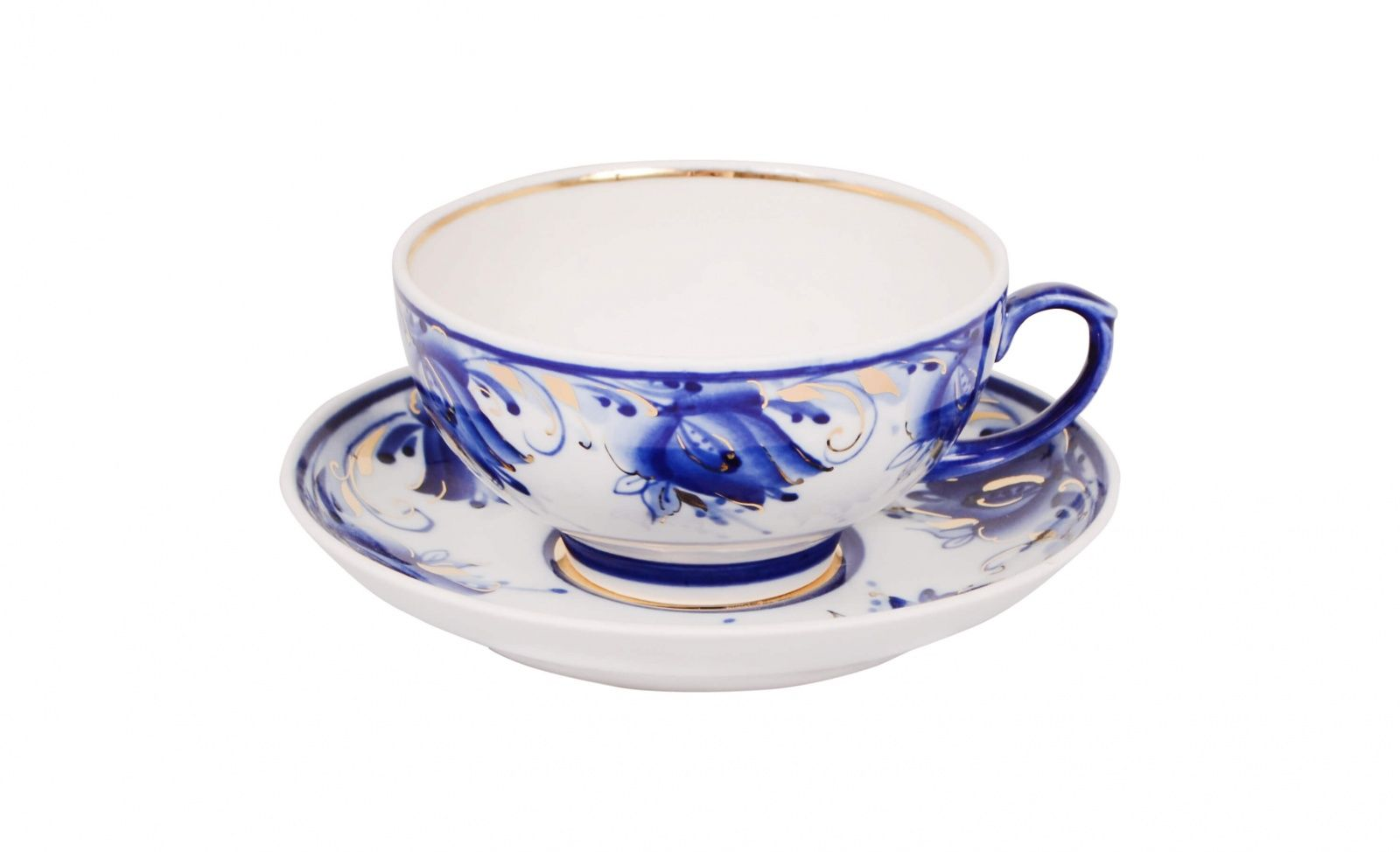 Dulevo porcelain / Tea cup and saucer set, 12 pcs., 220 ml Ruby Blue tulips Gold