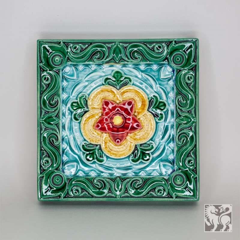 "Yaroslavl majolica / Tile ""Thistle"", green"