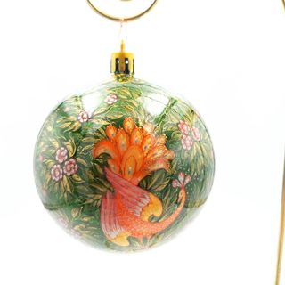 "Palekh / Christmas tree ball ""Firebird"" glass, small, master Konysheva"
